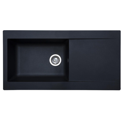 SIA DELTA10BL 1.0 Bowl Black Composite Reversible Inset Kitchen Sink & Waste Kit
