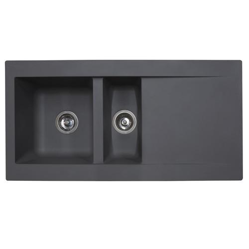 SIA DELTA15GR 1.5 Bowl Grey Composite Reversible Inset Kitchen Sink & Waste Kit