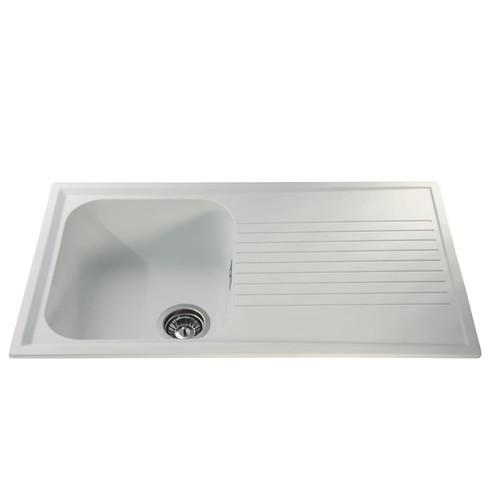 CDA AS1WH 1.0 Bowl White Reversible Quartz Composite Kitchen Sink & Waste Kit