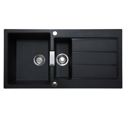 Franke Sirius S2D651CB 1.5 Bowl Black Tectonite Reversible Kitchen Sink & Waste
