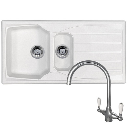Astracast Sierra 1.5 Bowl White Kitchen Sink &Reginox Elbe Chrome Mixer Tap