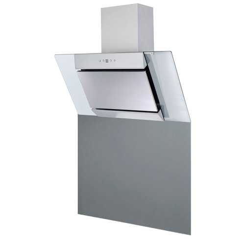 SIA 90cm Stainless Steel Angled Chimney Cooker Hood Fan And Glass Splashback