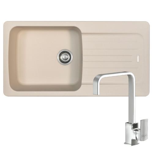 Franke Aveta 1.0 Bowl Cream Tectonite Kitchen Sink & Reginox Astoria U-Shape Tap