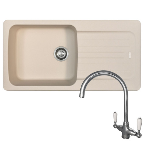 Franke Aveta 1.0 Bowl Cream Tectonite Kitchen Sink And Reginox Elbe Chrome Tap