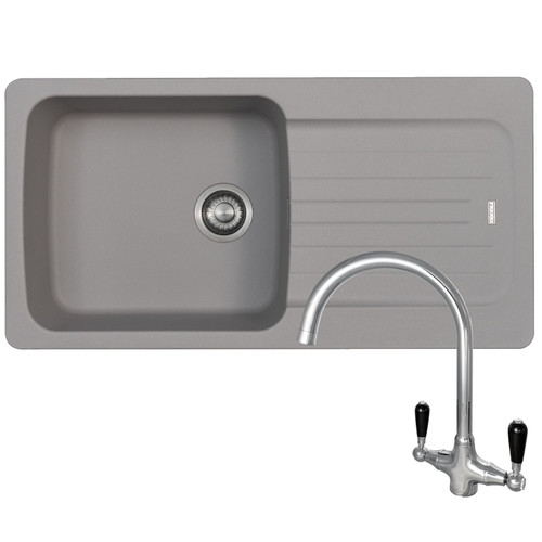 Franke Aveta 1.0 Bowl Stone Grey Tectonite Kitchen Sink And Reginox Brooklyn Tap