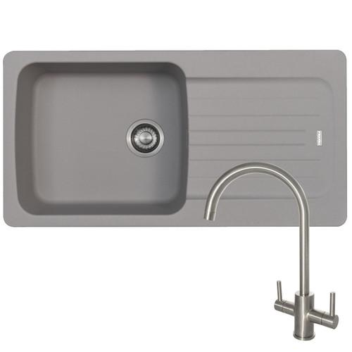 Franke Aveta 1.0 Bowl Stone Grey Tectonite Kitchen Sink And Reginox Genesis Tap