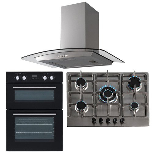 SIA 60cm Black Built In Double Fan Oven, 70cm 5 Burner Gas Hob And Curved Hood