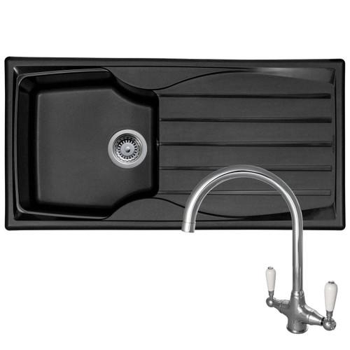 Astracast Sierra 1.0 Bowl Black Kitchen Sink And Reginox Elbe Chrome Mixer Tap