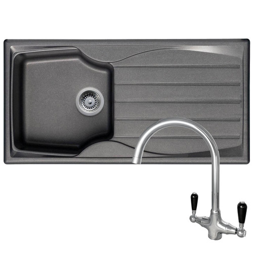 Astracast Sierra 1 Bowl Graphite Grey Kitchen Sink & Reginox Brooklyn Mixer Tap