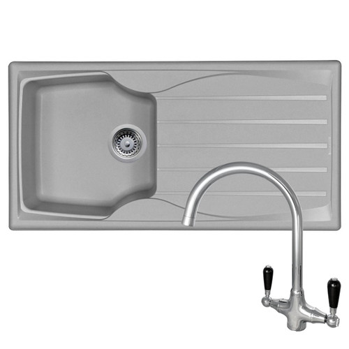 Astracast Sierra 1 Bowl Light Grey Kitchen Sink And Reginox Brooklyn Mixer Tap