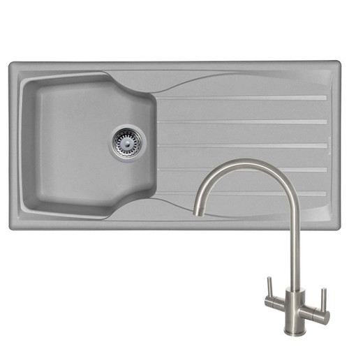 Astracast Sierra 1 Bowl Light Grey Kitchen Sink & Reginox Genesis Swan Neck Tap