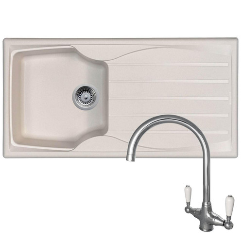 Astracast Sierra 1 Bowl Cream Reversible Kitchen Sink & Reginox Elbe Chrome Tap