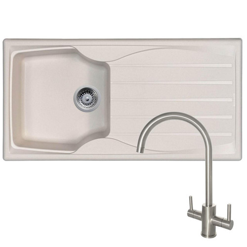Astracast Sierra 1 Bowl Cream Kitchen Sink & Reginox Genesis Swan Neck Steel Tap