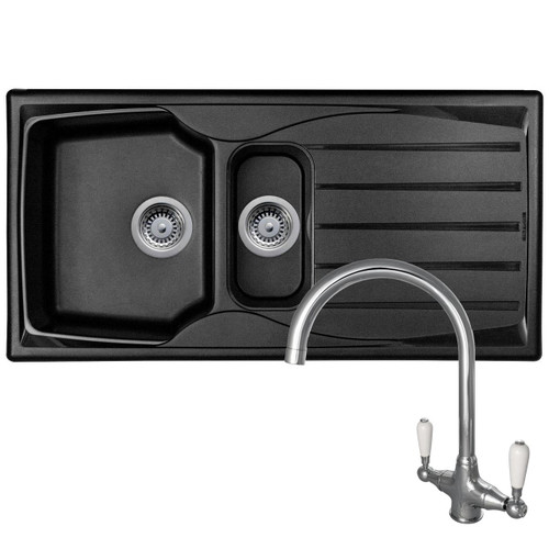 Astracast Sierra 1.5 Bowl Black Kitchen Sink And Reginox Elbe Chrome Sink Tap