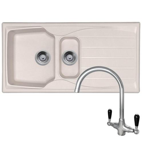 Astracast Sierra 1.5 Bowl Cream Kitchen Sink & Reginox Brooklyn Chrome Mixer Tap