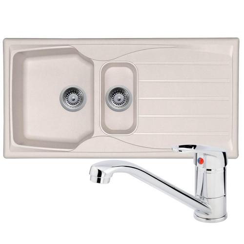 Astracast Sierra 1.5 Bowl Cream Kitchen Sink And Franke Zeno Chrome Mixer Tap