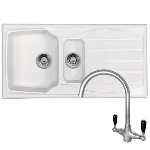 Astracast Sierra 1.5 Bowl White Kitchen Sink &Reginox Brooklyn Chrome Mixer Tap