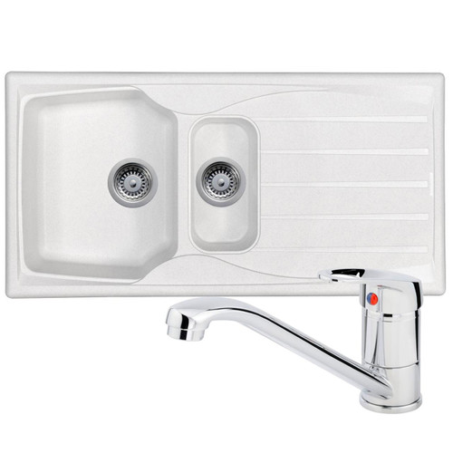 Astracast Sierra 1.5 Bowl White Kitchen Sink And Franke Zeno Chrome Mixer Tap