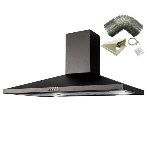 SIA CHL100BL 100cm Black Chimney Cooker Hood Kitchen Extractor Fan &1m Ducting