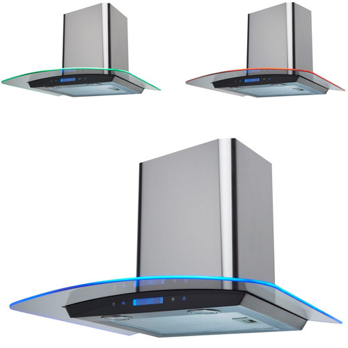 SIA 60cm Stainless Steel Touch Control LED Edge Lit Curved Glass Cooker Hood Fan