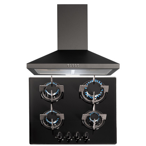 SIA 60cm Black 4 Burner Gas On Glass Hob & Chimney Cooker Hood Extractor Fan