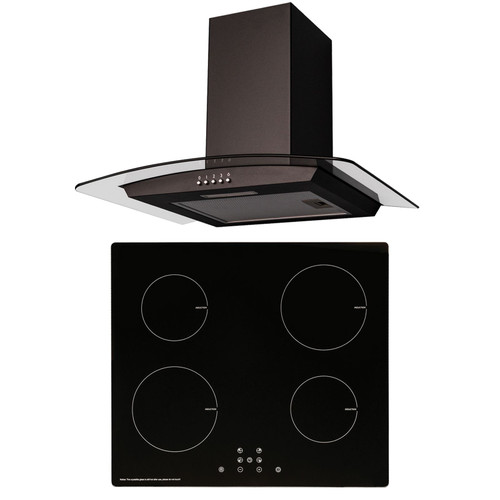 SIA 60cm Black 4 Zone Touch Control Induction Hob And Curved Hood Extractor Fan