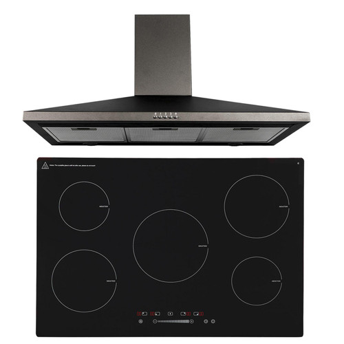 SIA 90cm Black 5 Zone Touch Control Induction Hob And Cooker Hood Extractor Fan