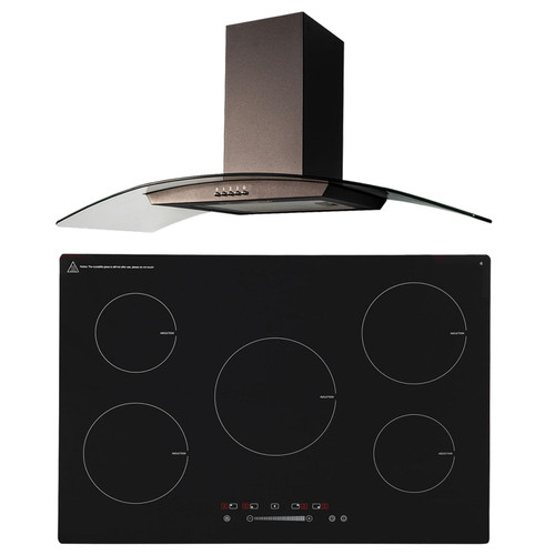 SIA 90cm 5 Zone Black Touch Control Induction Hob & Curved Glass Cooker Hood Fan