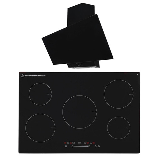 SIA 90cm Black 5 Zone Touch Control Induction Hob &Angled Glass Cooker Hood Fan