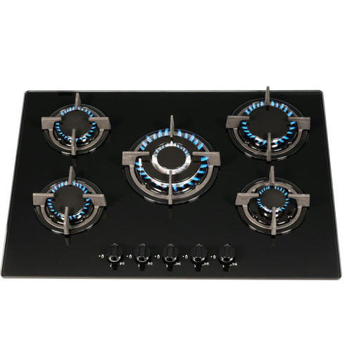 SIA GHG703BL 70cm Black 5 Burner Gas On Glass Hob With Cast Iron Pan Stands