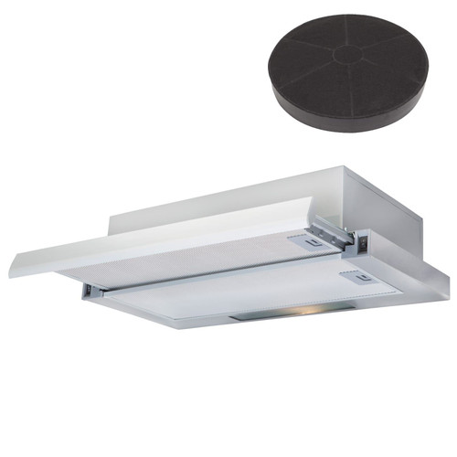 SIA 60cm Stainless Steel Telescopic Integrated Cooker Hood Fan And Carbon Filter