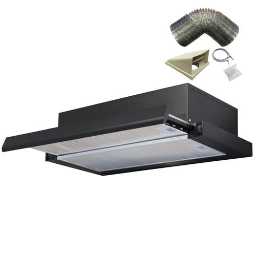 SIA TSH60BL 60cm Black Telescopic Integrated Cooker Hood Kitchen And 1m Ducting