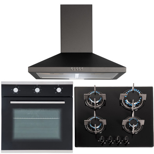 SIA 60cm Black Single Electric True Fan Oven, 4 Burner Gas Hob & Cooker Hood Fan