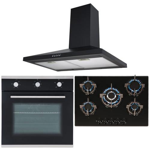 SIA Black Single True Fan Oven, 5 Burner Gas On Glass Hob & Chimney Cooker Hood