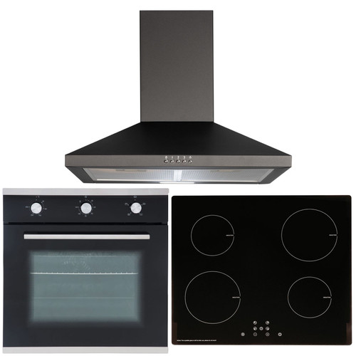 SIA 60cm Black Single Oven, ECO 13 Amp 4 Zone Induction Hob & Cooker Hood Fan