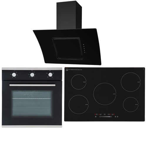 SIA 60cm Single Electric Oven, 90cm 5 Zone Induction Hob And Curved Angled Hood