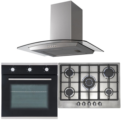 SIA 60cm Black Fan Oven, 70cm Stainless Steel 5 Burner Gas Hob And Curved Hood