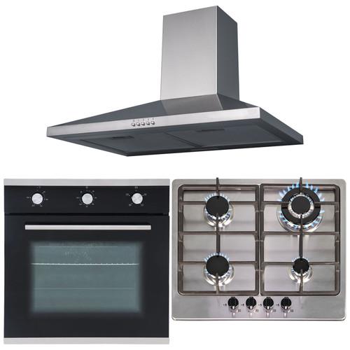 SIA 60cm Single Fan Oven, Stainless Steel 4 Burner Hob And Chimney Cooker Hood