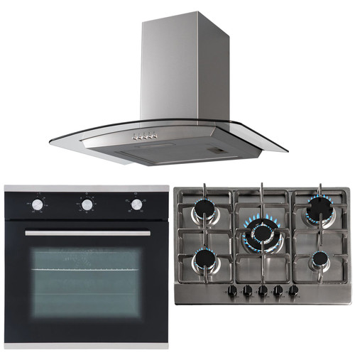 SIA Black 60cm Single True Fan Electric Oven, 70cm Gas Hob And Curved Glass Hood