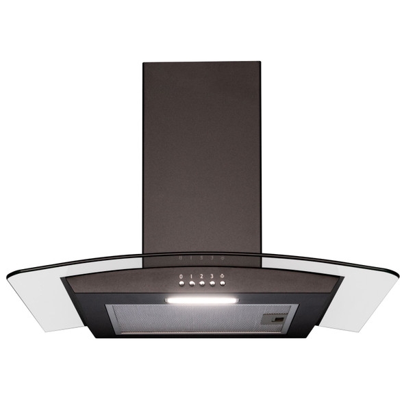 SIA CGH60BL 60cm Curved Glass Black Chimney Cooker Hood &60cm Glass Splashback