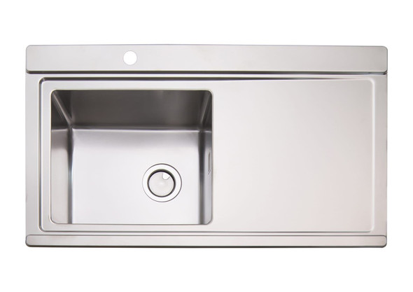Clearwater Glacier 1 Bowl RHD Stainless Steel Sink & Black Glass Chopping Boards