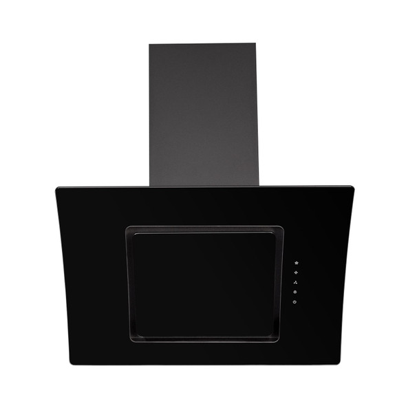 SIA 70cm Black Touch Control Angled Curved Glass Cooker Hood And Charcoal Filter