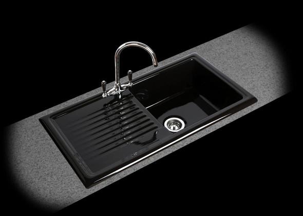 Reginox RL404CB 1 Bowl Black Reversible Ceramic Kitchen Sink & Traditional Tap