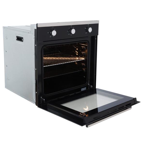 SIA 60cm Black Single Electric True Fan Oven, 70cm Gas Hob & Angled Cooker Hood
