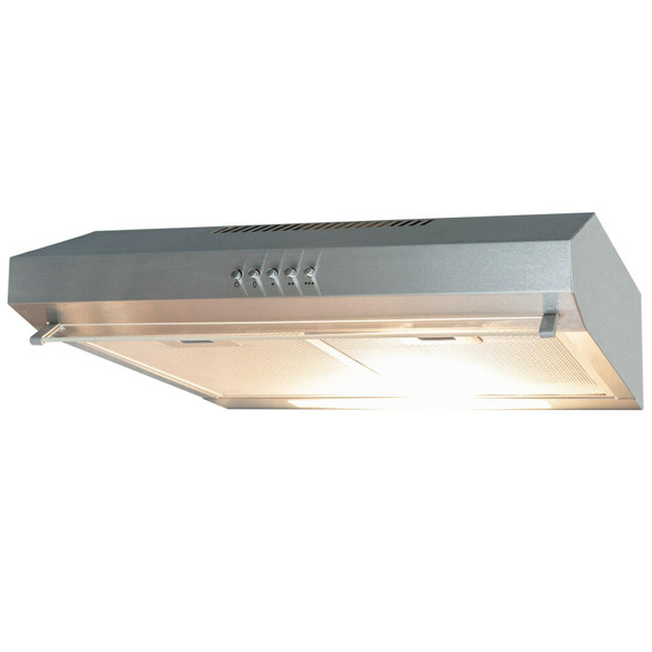 SIA 50cm Stainless Steel Slimline Visor Cooker Hood Extractor Fan &1m Ducting
