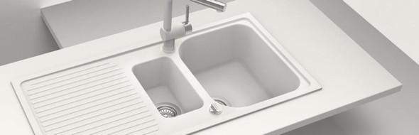 Schock Lithos D150 1.5 Bowl Alpina White Reversible Granite Kitchen Sink & Waste