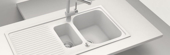 Schock Lithos D150 1.5 Bowl Alpina White Reversible Granite Kitchen Sink & Waste