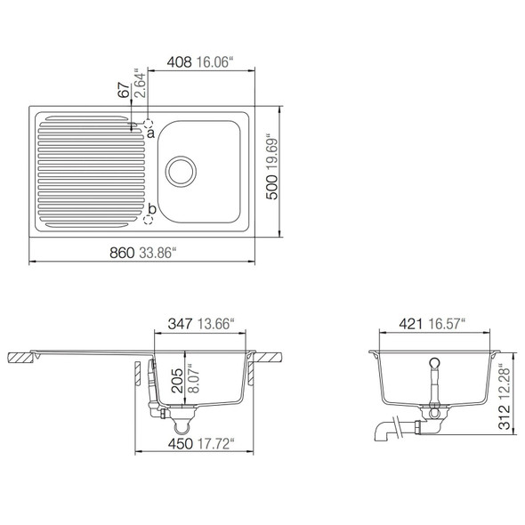 Schock Lithos D100 1.0 Bowl Reversible Croma Grey Granite Kitchen Sink &Waste