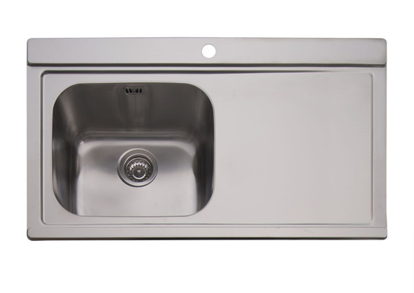 Clearwater Mirage 1 Bowl RHD Stainless Steel Sink & Silver Glass Chopping Boards
