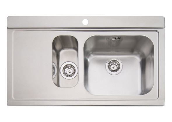 Clearwater Mirage 1.5 Bowl Stainless Steel Sink & White Glass Chopping Boards